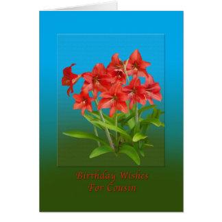 Cumpleaños, primo, lirios de día rojos tarjeta