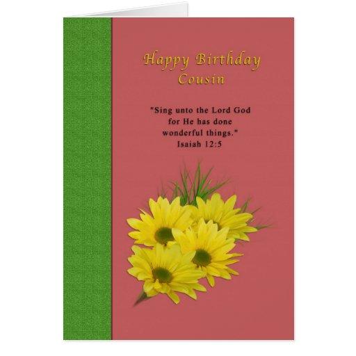 Cumpleaños, primo, margaritas amarillas, religiosa felicitación
