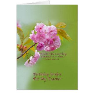 Cumpleaños, profesor, flores de cerezo, religiosas tarjetón