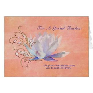 Cumpleaños, profesor, lirio de agua, religioso tarjeta de felicitación