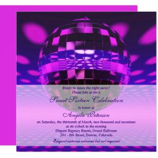 Cumpleaños púrpura del dulce 16 de la bola de invitación 13,3 cm x 13,3cm