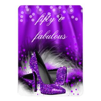 Cumpleaños púrpura fabuloso 2 de 50 tacones altos invitación 12,7 x 17,8 cm