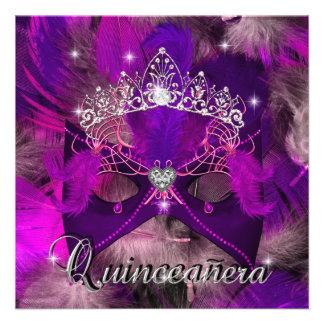 Cumpleaños púrpura rosado de Quinceanera del brill Comunicado Personalizado