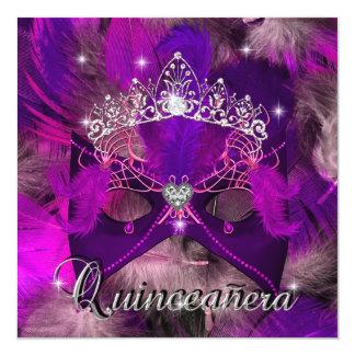 Cumpleaños púrpura rosado de Quinceanera del Comunicado Personalizado