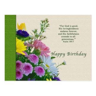 Cumpleaños, ramo floral, religioso, postal