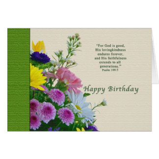 Cumpleaños, ramo floral, religioso tarjeta