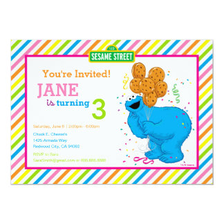 Cumpleaños rayado del monstruo de la galleta invitación 12,7 x 17,8 cm