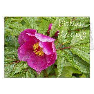 Cumpleaños religioso de la foto rosada del Peony Tarjeta De Felicitación