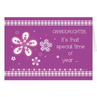 Cumpleaños religioso de la nieta, flores, tarjeta de felicitación