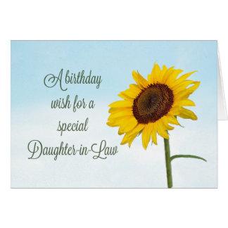 Cumpleaños religioso del girasol de la nuera tarjeta de felicitación
