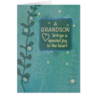 Cumpleaños religioso del nieto, mirada dibujada tarjeta