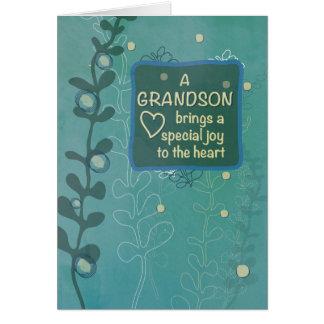 Cumpleaños religioso del nieto, mirada dibujada tarjeta de felicitación