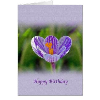 Cumpleaños, religioso, flor del azafrán tarjeta de felicitación