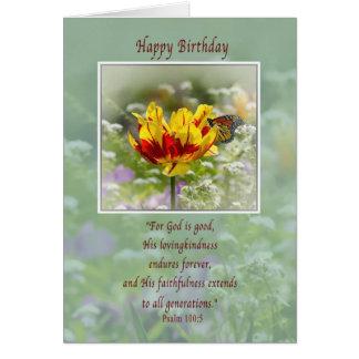 Cumpleaños religioso flores y tarjeta de la mari