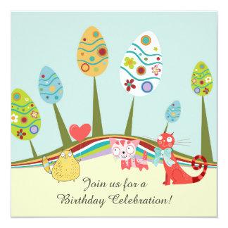 Cumpleaños retro colorido de los árboles de los invitación 13,3 cm x 13,3cm