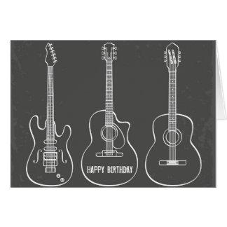 Cumpleaños retro de la música del grunge del trío tarjeta de felicitación
