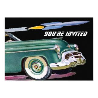 Cumpleaños retro del coche y de Rocket Invitacion Personal