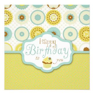 Cumpleaños retro dulce de la magdalena comunicados personales