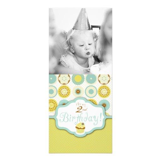 Cumpleaños retro dulce de la plantilla de la foto  anuncio