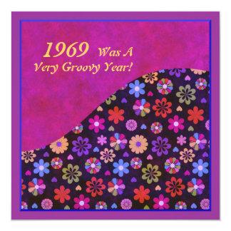 Cumpleaños retro maravilloso del flower power 60s invitación 13,3 cm x 13,3cm
