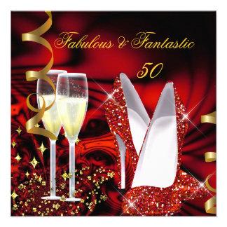 Cumpleaños rojo abstracto fantástico del oro 50 fa invitaciones personales