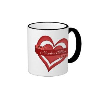 Cumpleaños rojo del día de la mamá de madre person tazas de café