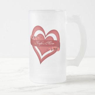 Cumpleaños rojo del día de la mamá de madre taza de cristal