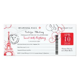 Cumpleaños rojo del dulce 16 de la torre Eiffel el Invitación 10,1 X 23,5 Cm