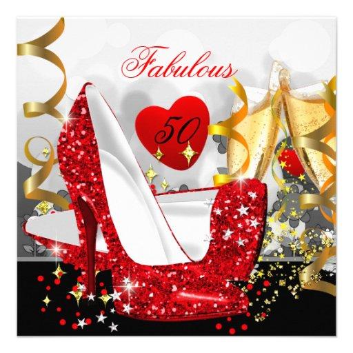Cumpleaños rojo del oro del brillo de las 50 mujer invitaciones personales