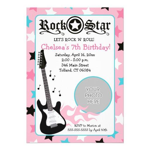 Cumpleaños rosado 5x7 del *PHOTO* de la guitarra d Invitacion Personalizada