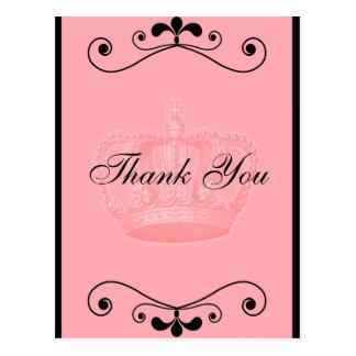 Cumpleaños rosado de la corona y de los remolinos postal