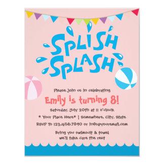 Cumpleaños rosado de la fiesta en la piscina del invitacion personal