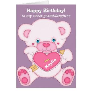 Cumpleaños rosado de la nieta del oso de peluche tarjeta de felicitación