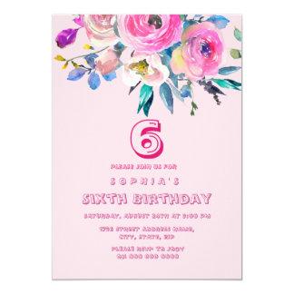 Cumpleaños rosado de los niños de los niños del invitación 12,7 x 17,8 cm