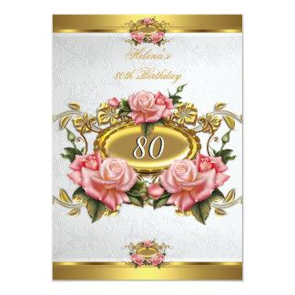Cumpleaños rosado elegante 2 del blanco 80.o de invitación 12,7 x 17,8 cm