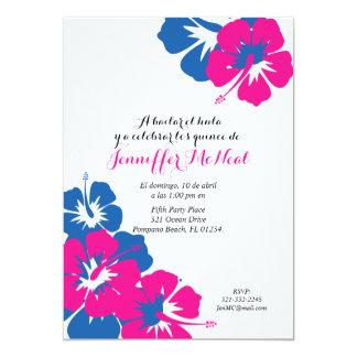 cumpleaños rosado español del azul QUINEANERA LUAU Invitación 12,7 X 17,8 Cm