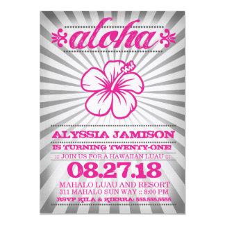 Cumpleaños rosado gris de la hawaiana de la invitación 12,7 x 17,8 cm