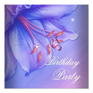 Cumpleaños rosado púrpura de las flores de invitación 13,3 cm x 13,3cm