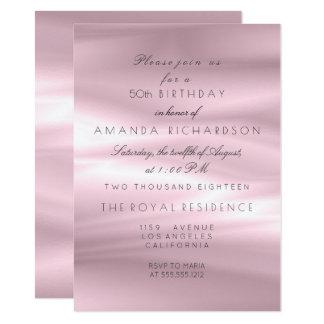 Cumpleaños rosado púrpura de seda mínimo del gris invitación 11,4 x 15,8 cm
