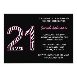 Cumpleaños rosado y negro de la cebra 21ro invitación 12,7 x 17,8 cm