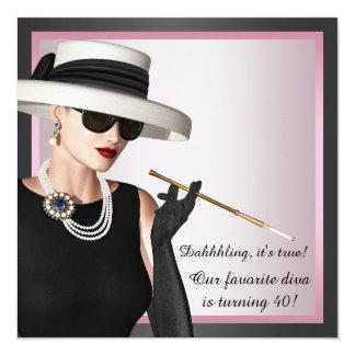 Cumpleaños rosado y negro de la mujer de la diva invitación 13,3 cm x 13,3cm
