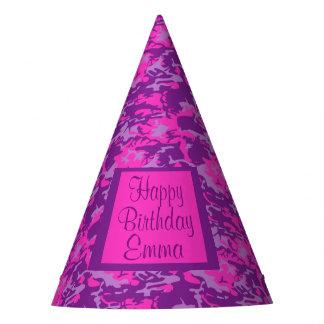 Cumpleaños rosado y púrpura adaptable de Camo Gorro De Fiesta