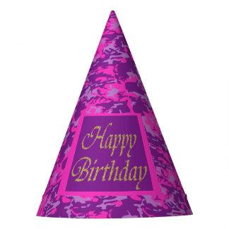 Cumpleaños rosado y púrpura de Camo Gorro De Fiesta