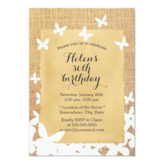 Cumpleaños rústico de la arpillera de las invitación 12,7 x 17,8 cm