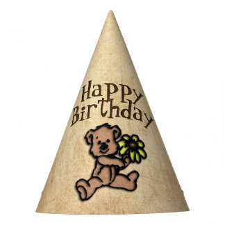 Cumpleaños rústico del oso de la margarita gorro de fiesta