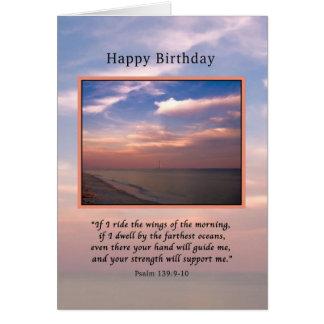 Cumpleaños, salida del sol en la playa, religiosa tarjeta de felicitación
