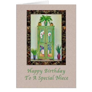 Cumpleaños, sobrina, aún vida con el gabinete tarjeta de felicitación