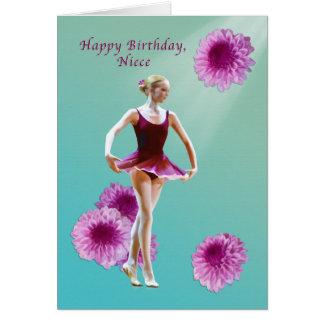 Cumpleaños, sobrina, bailarina con la tarjeta