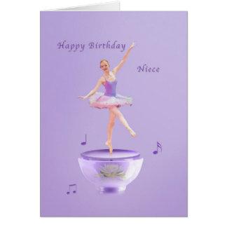 Cumpleaños, sobrina, bailarina de la caja de músic tarjetas