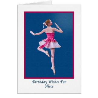Cumpleaños, sobrina, bailarina en azul tarjeta de felicitación
